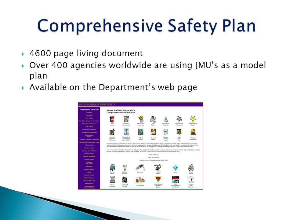 4600 page living document Over 400 agencies worldwide are using JMUs as a model plan Available on the Departments web page