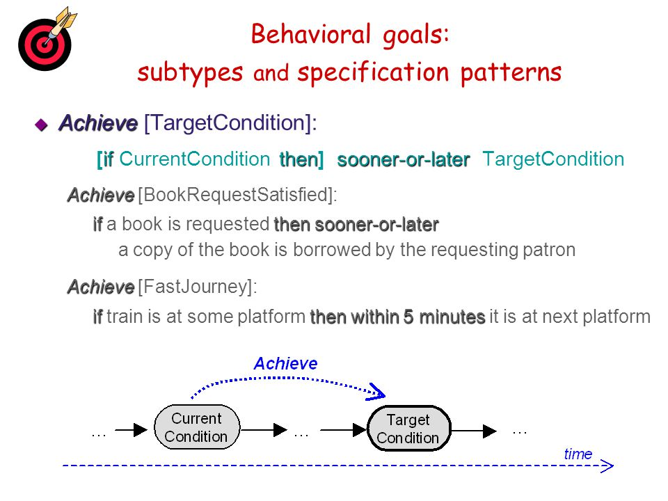 Behavioral goals: subtypes and specification patterns Achieve Achieve [TargetCondition]: ifthensooner-or-later [if CurrentCondition then] sooner-or-la