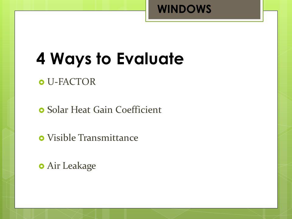 U-FACTOR Solar Heat Gain Coefficient Visible Transmittance Air Leakage 4 Ways to Evaluate WINDOWS