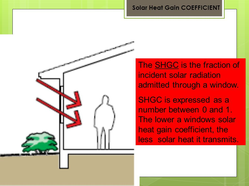 The SHGC is the fraction of incident solar radiation admitted through a window.