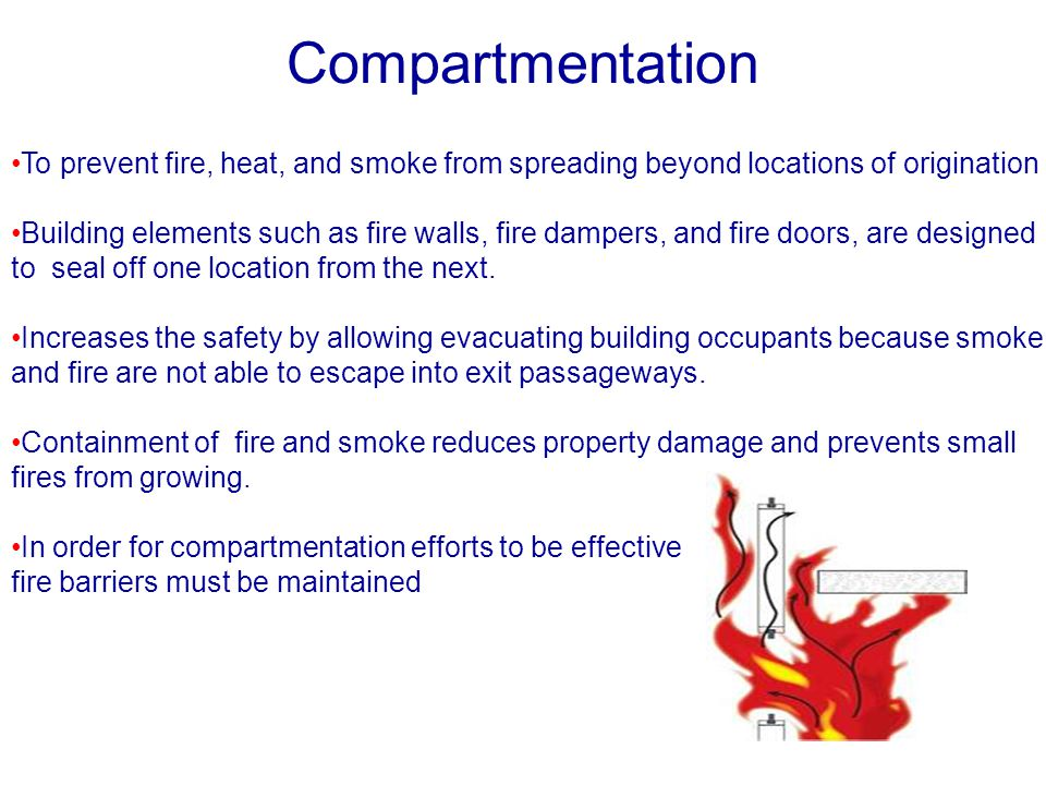 Compartmentation To prevent fire, heat, and smoke from spreading beyond locations of origination Building elements such as fire walls, fire dampers, a