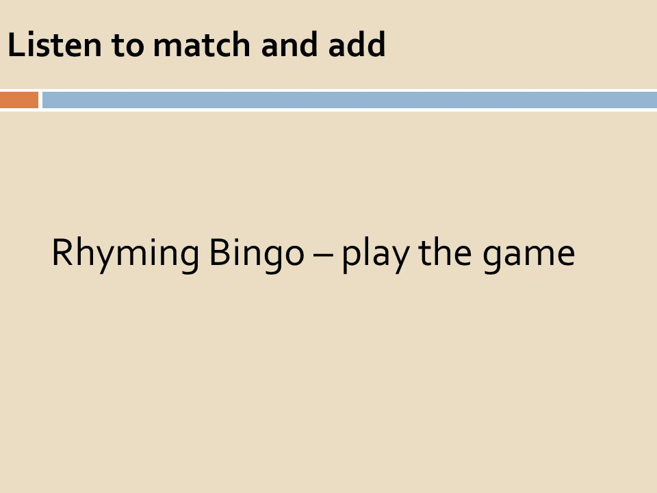 Listen to match and add Rhyming Bingo – play the game