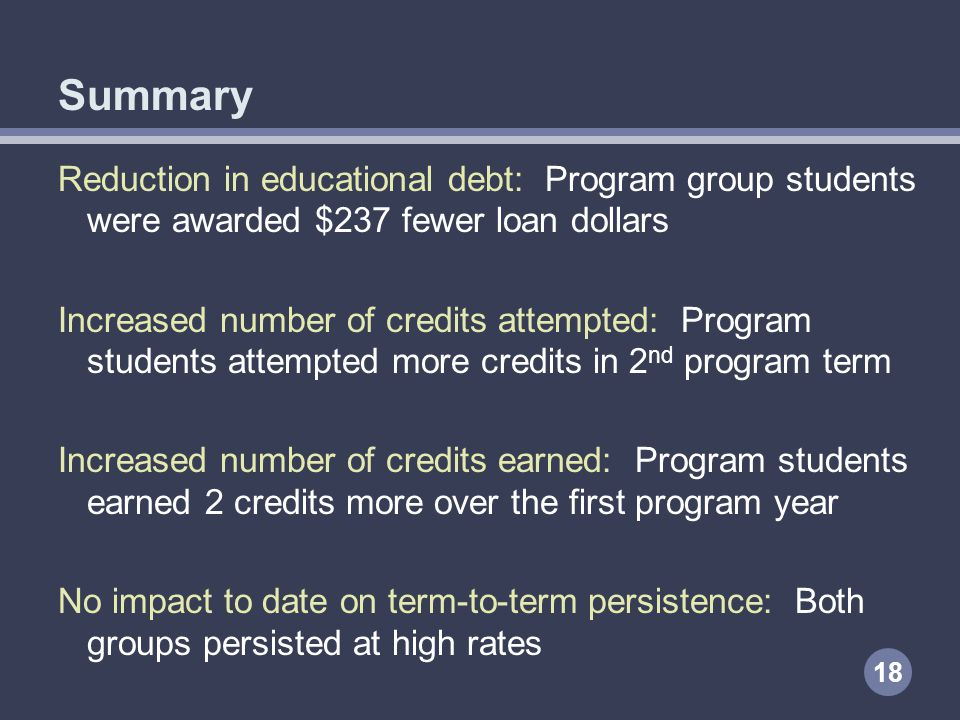 Summary Reduction in educational debt: Program group students were awarded $237 fewer loan dollars Increased number of credits attempted: Program students attempted more credits in 2 nd program term Increased number of credits earned: Program students earned 2 credits more over the first program year No impact to date on term-to-term persistence: Both groups persisted at high rates 18