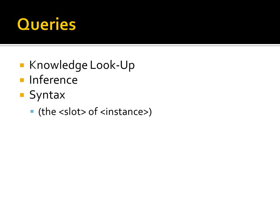 Knowledge Look-Up Inference Syntax (the of )