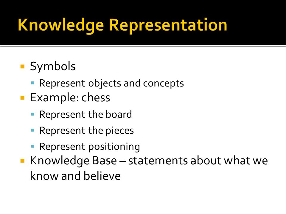 Symbols Represent objects and concepts Example: chess Represent the board Represent the pieces Represent positioning Knowledge Base – statements about what we know and believe