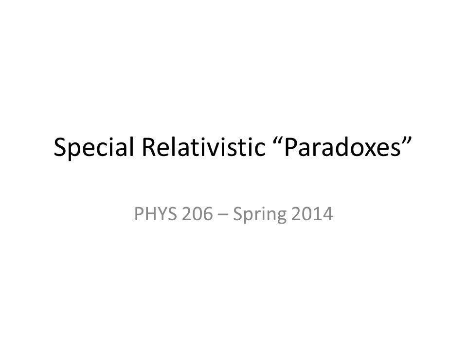 Special Relativistic Paradoxes PHYS 206 – Spring 2014
