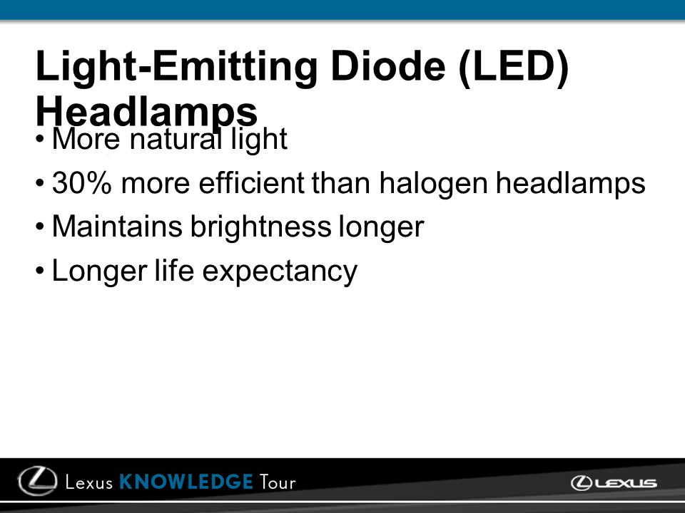 Light-Emitting Diode (LED) Headlamps More natural light 30% more efficient than halogen headlamps Maintains brightness longer Longer life expectancy