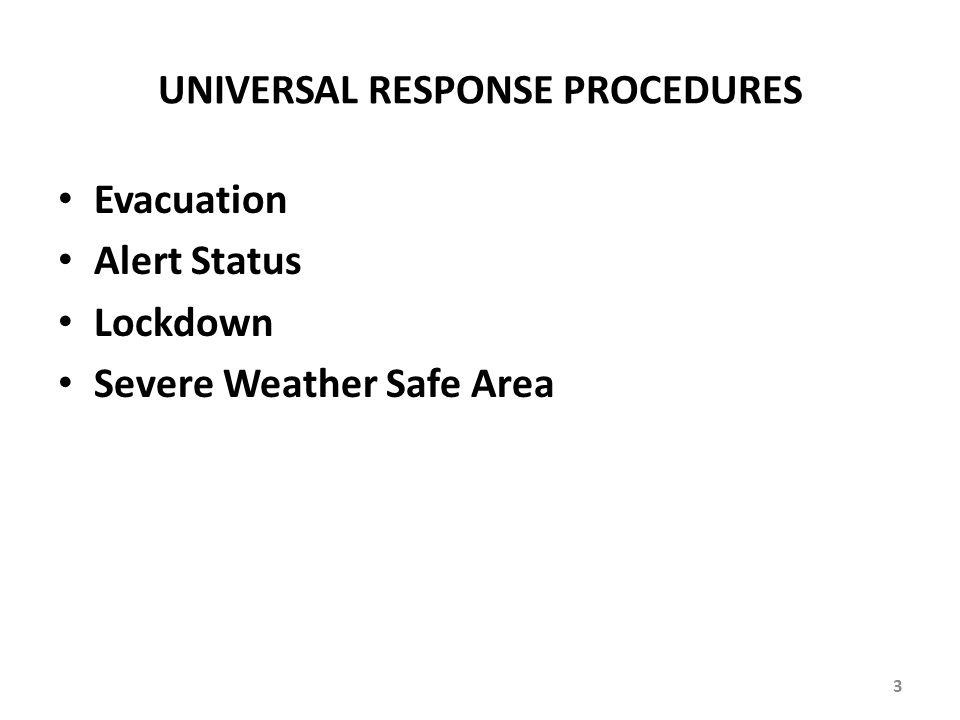 UNIVERSAL RESPONSE PROCEDURES Evacuation Alert Status Lockdown Severe Weather Safe Area 3