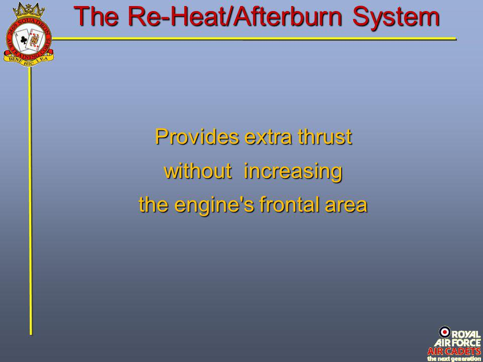 The Re-Heat/Afterburn System Provides extra thrust without increasing the engine's frontal area