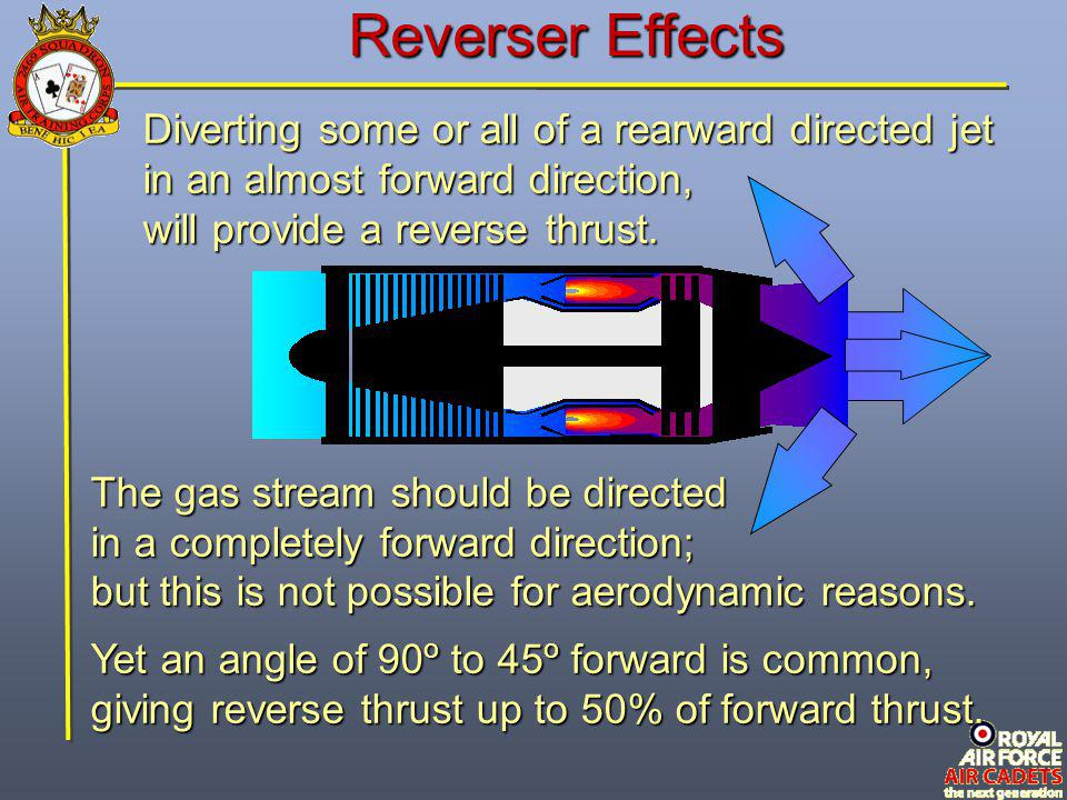 Diverting some or all of a rearward directed jet in an almost forward direction, will provide a reverse thrust. The gas stream should be directed in a