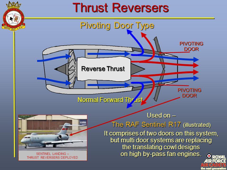 Thrust Reversers Pivoting Door Type Normal Forward Thrust Reverse Thrust PIVOTING DOOR SENTINEL LANDING – THRUST REVERSERS DEPLOYED Used on – The RAF