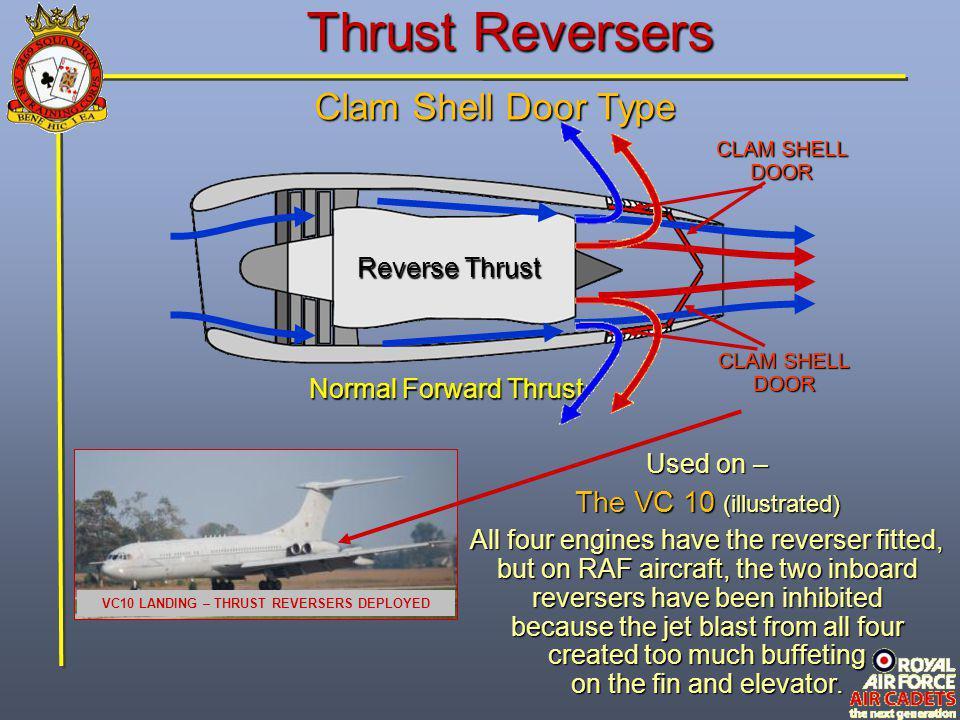 Thrust Reversers Clam Shell Door Type Normal Forward Thrust CLAM SHELL DOOR CLAM SHELL DOOR Reverse Thrust VC10 LANDING – THRUST REVERSERS DEPLOYED Us