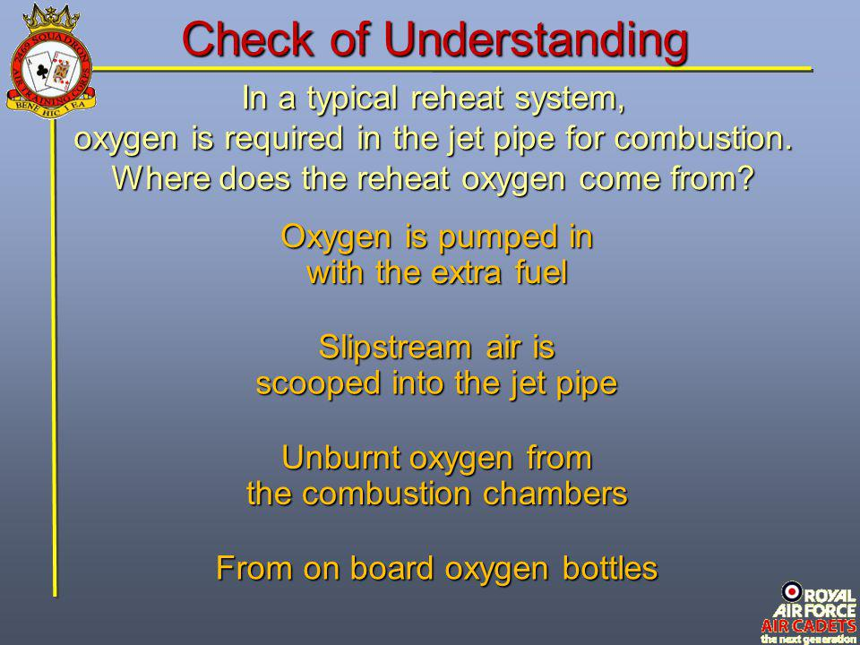 In a typical reheat system, oxygen is required in the jet pipe for combustion. Where does the reheat oxygen come from? From on board oxygen bottles Ox
