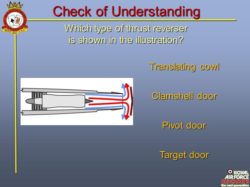 Which type of thrust reverser is shown in the illustration? Target door Translating cowl Pivot door Clamshell door