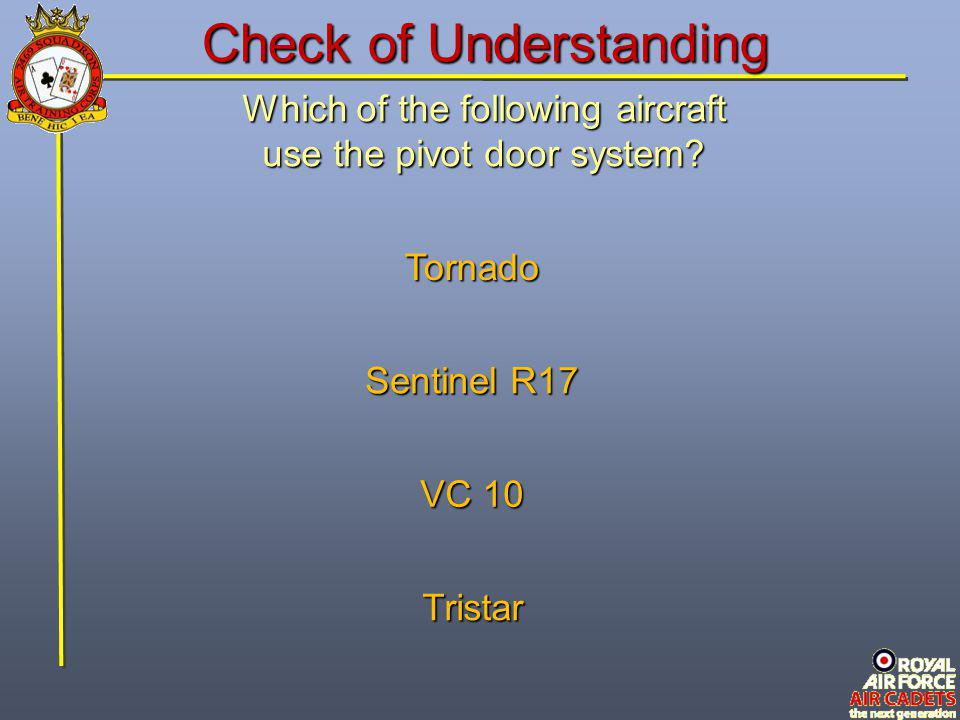 Which of the following aircraft use the pivot door system? Tristar Tornado VC 10 Sentinel R17 Check of Understanding