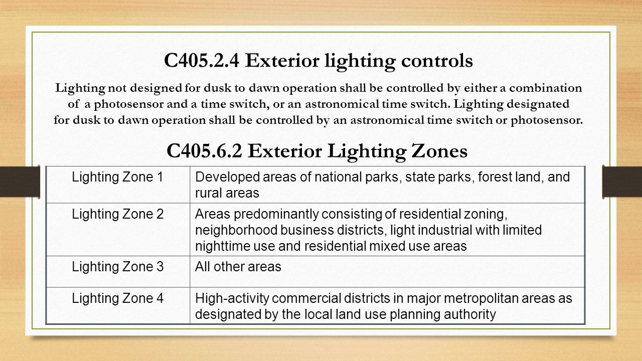 C405.2.4 Exterior lighting controls Lighting not designed for dusk to dawn operation shall be controlled by either a combination of a photosensor and