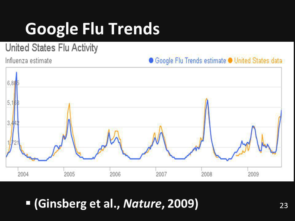 Google Flu Trends 23 (Ginsberg et al., Nature, 2009)