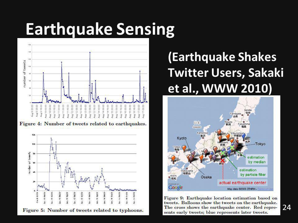Earthquake Sensing (Earthquake Shakes Twitter Users, Sakaki et al., WWW 2010) 24
