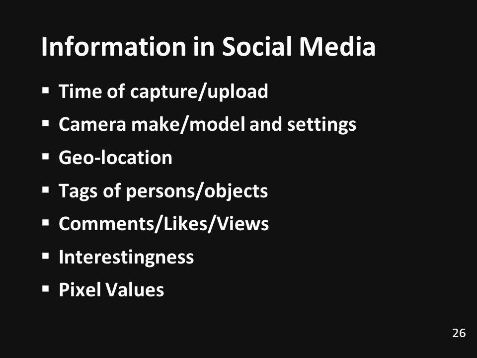 Information in Social Media Time of capture/upload Camera make/model and settings Geo-location Tags of persons/objects Comments/Likes/Views Interestin