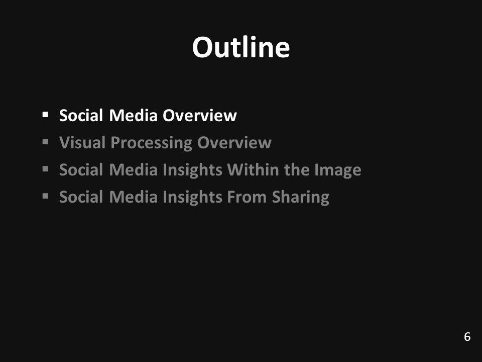 Outline Social Media Overview Visual Processing Overview Social Media Insights Within the Image Social Media Insights From Sharing 6 TexPoint fonts used in EMF.