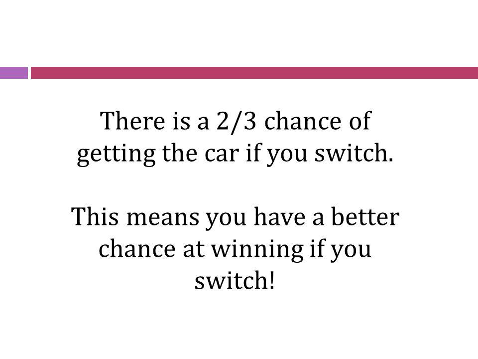 There is a 2/3 chance of getting the car if you switch. This means you have a better chance at winning if you switch!