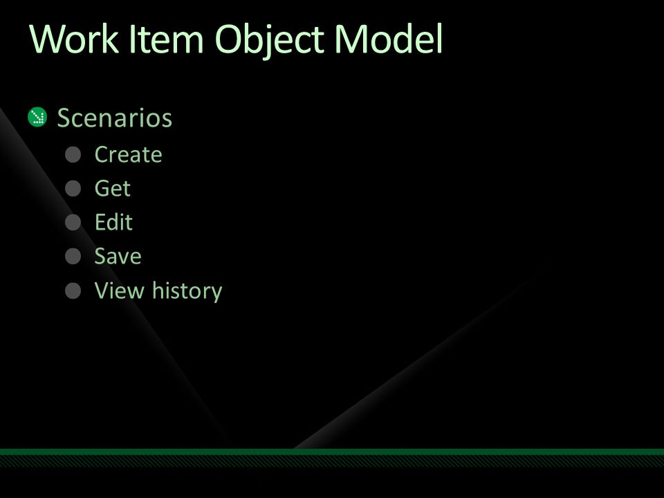 Work Item Object Model Scenarios Create Get Edit Save View history