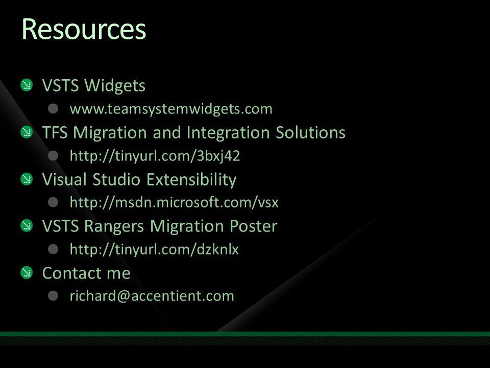 Resources VSTS Widgets www.teamsystemwidgets.com TFS Migration and Integration Solutions http://tinyurl.com/3bxj42 Visual Studio Extensibility http://msdn.microsoft.com/vsx VSTS Rangers Migration Poster http://tinyurl.com/dzknlx Contact me richard@accentient.com