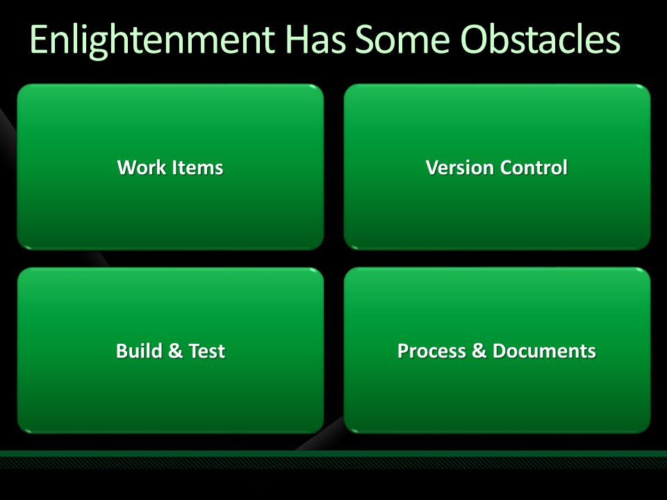 Enlightenment Has Some Obstacles Work Items Build & Test Version Control Process & Documents