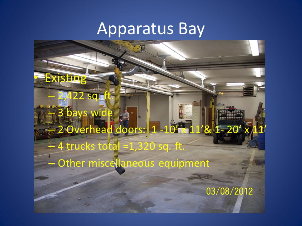 Apparatus Bay Existing – 2,422 sq.ft.