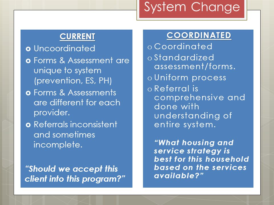 System ChangeCURRENT Uncoordinated Forms & Assessment are unique to system (prevention, ES, PH) Forms & Assessments are different for each provider.