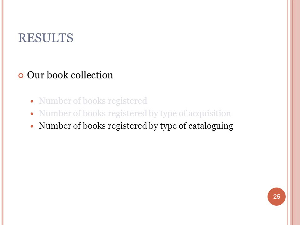 25 RESULTS Our book collection Number of books registered Number of books registered by type of acquisition Number of books registered by type of cataloguing 25