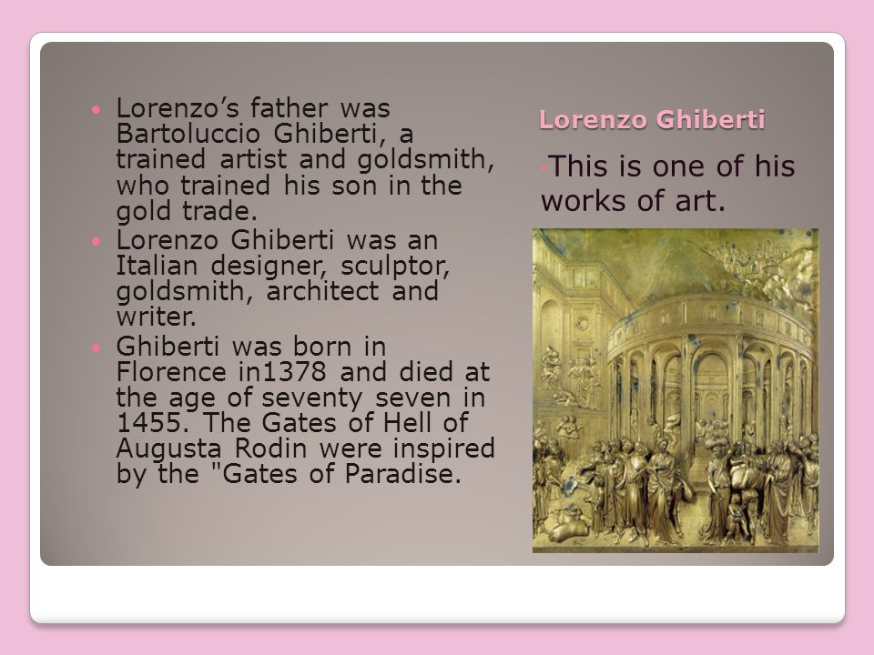 This is another work of art by Lorenzo Ghilberti He first came to prominence as winner of the 1401 competition for a set of bronze doors to the Florence Bapistry.