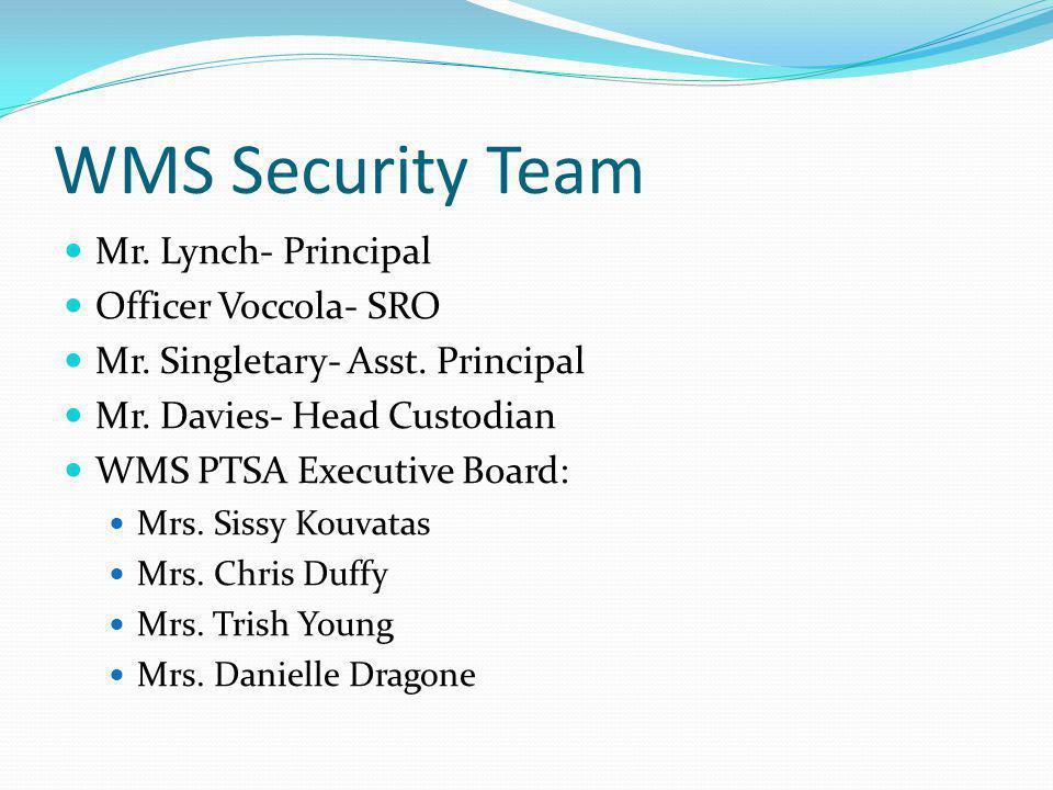 WMS Security Team Mr. Lynch- Principal Officer Voccola- SRO Mr.