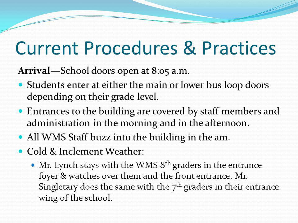 Current Procedures & Practices ArrivalSchool doors open at 8:05 a.m. Students enter at either the main or lower bus loop doors depending on their grad
