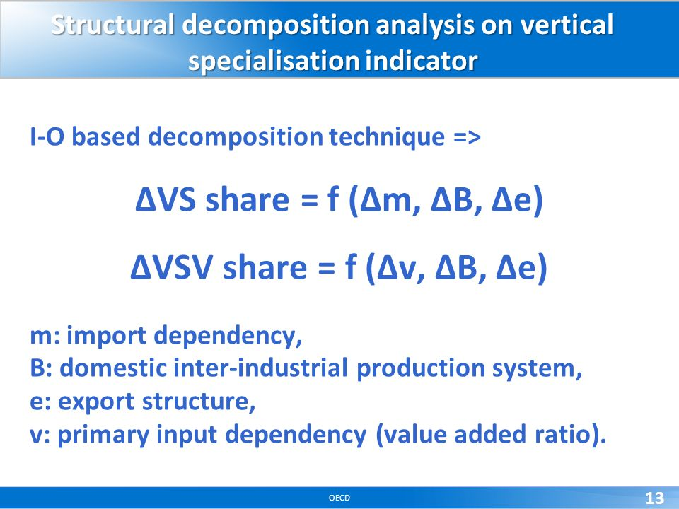 OECD 13 Structural decomposition analysis on vertical specialisation indicator I-O based decomposition technique => VS share = f (m, B, e) VSV share =