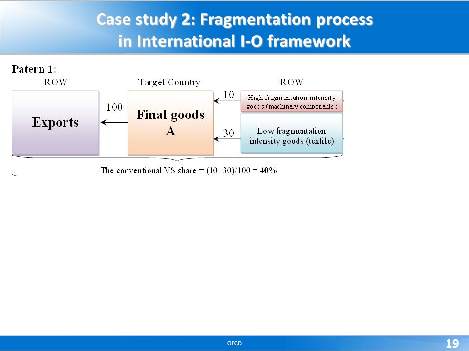 OECD 19 Case study 2: Fragmentation process in International I-O framework