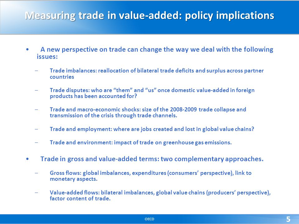 OECD 5 Measuring trade in value-added: policy implications A new perspective on trade can change the way we deal with the following issues: –Trade imb