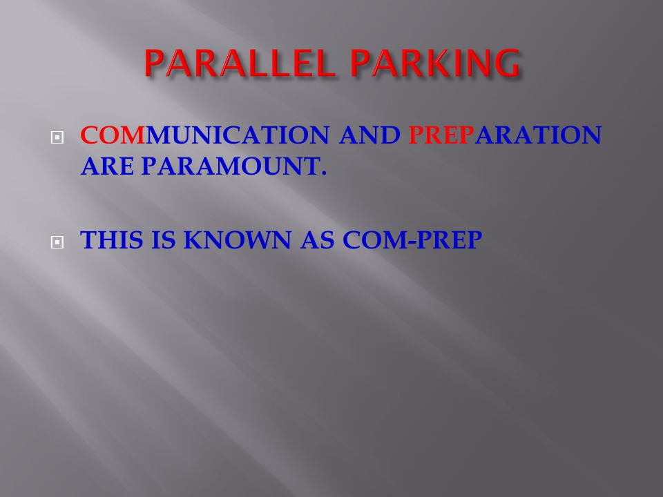 ENTERING A PARALLEL PARKING SPACE 1.Use your indicator to signal a right turn.
