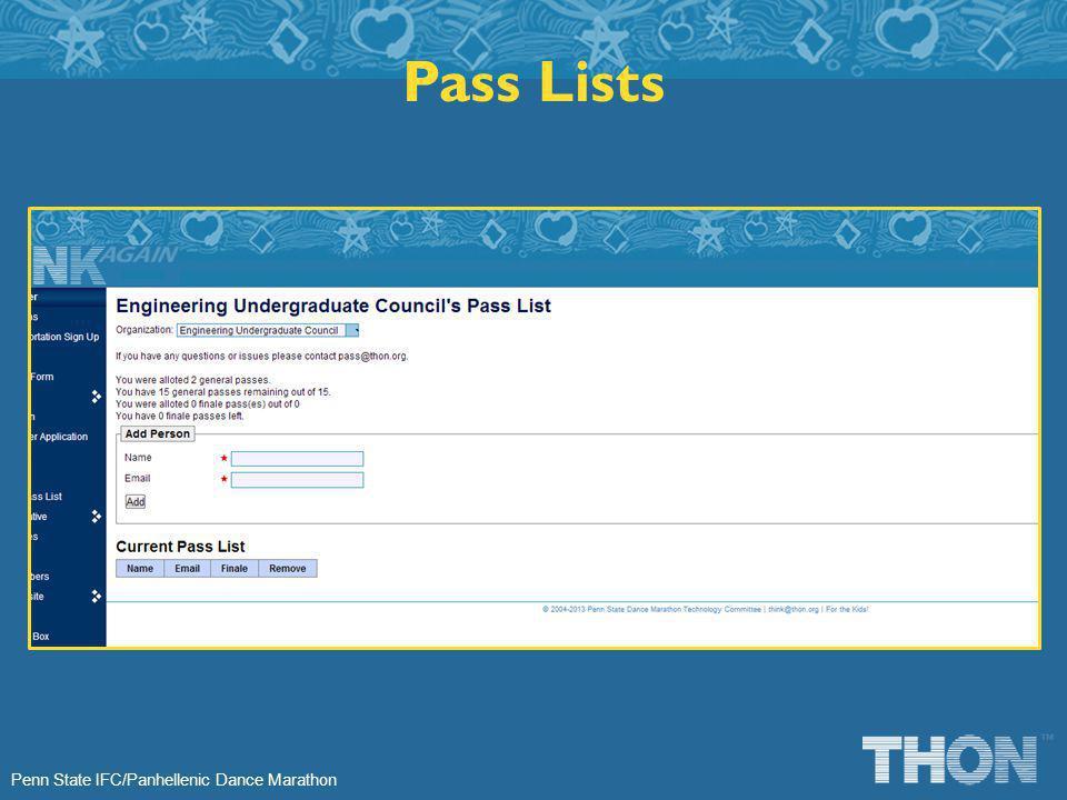 Penn State IFC/Panhellenic Dance Marathon Pass Lists