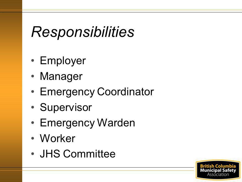 Employer Manager Emergency Coordinator Supervisor Emergency Warden Worker JHS Committee Responsibilities