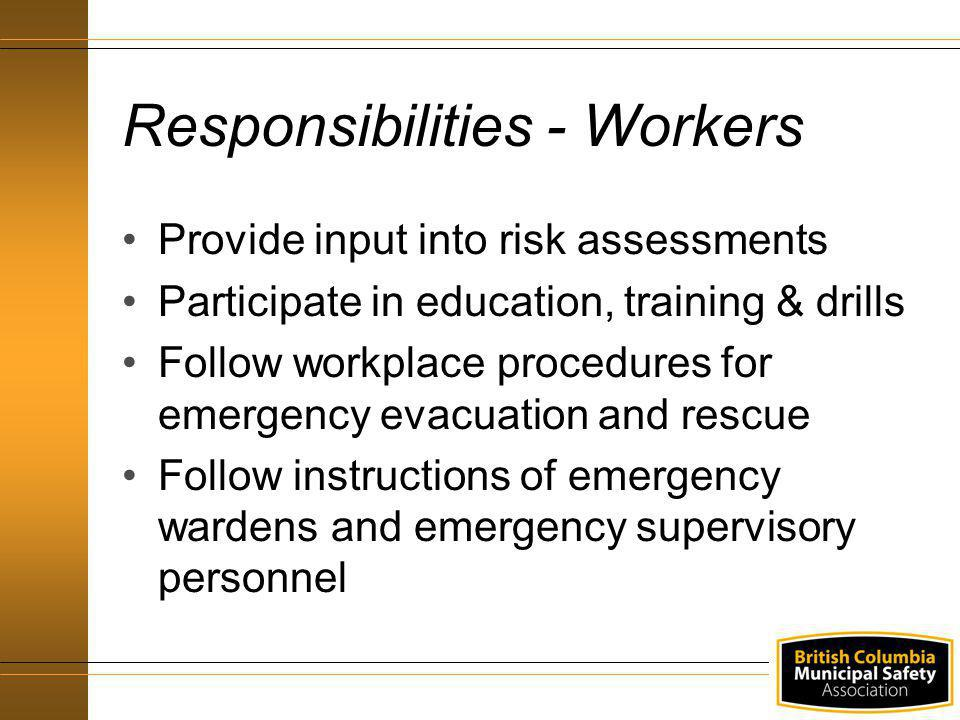 Provide input into risk assessments Participate in education, training & drills Follow workplace procedures for emergency evacuation and rescue Follow