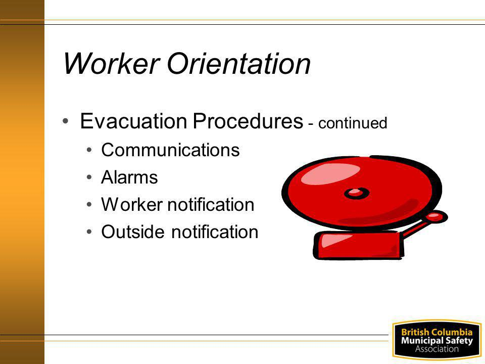 Evacuation Procedures - continued Communications Alarms Worker notification Outside notification Worker Orientation
