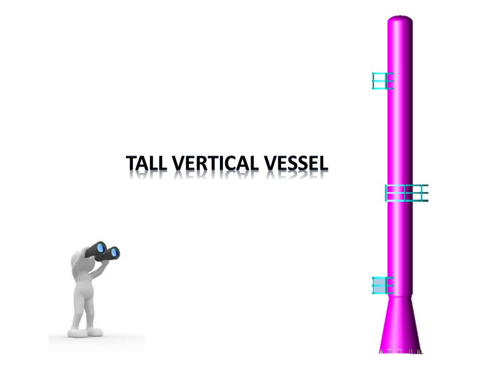 Design of Tall Vertical Vessels (L > 6 m) After calculating the shell thickness from previous design methods for vessels under internal and external pressures, we should check that this thickness will withstand the loads applied on it.