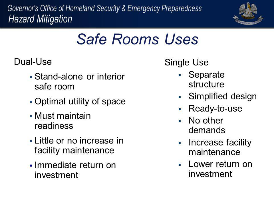 Dual-Use Stand-alone or interior safe room Optimal utility of space Must maintain readiness Little or no increase in facility maintenance Immediate re