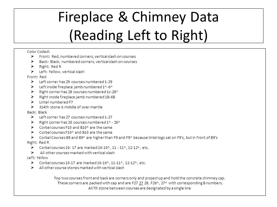 Fireplace & Chimney Data (Reading Left to Right) Color Coded: Front: Red, numbered corners, vertical slash on courses Back: Black, numbered corners, vertical slash on courses Right: Red R Left: Yellow, vertical slash Front: Red Left corner has 29 courses numbered 1-29 Left inside fireplace jamb numbered 1^-6^ Right corner has 28 courses numbered 1c-28^ Right inside fireplace jamb numbered 1B-6B Lintel numbered F7 314th stone is middle of over mantle Back: Black Left corner has 27 courses numbered 1-27 Right corner has 26 courses numbered 1^ - 26^ Corbel courses F10 and B10^ are the same Corbel courses F10^ and B10 are the same Corbel Courses B9 and B9^ are higher than F9 and F9^ because lintel logs sat on F9 s, but in front of B9 s Right: Red R Corbel courses 10- 17 are marked 10-10^, 11 - 11^, 12-12^, etc.