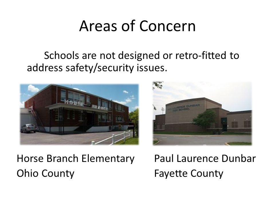 Areas of Concern Schools are not designed or retro-fitted to address safety/security issues.