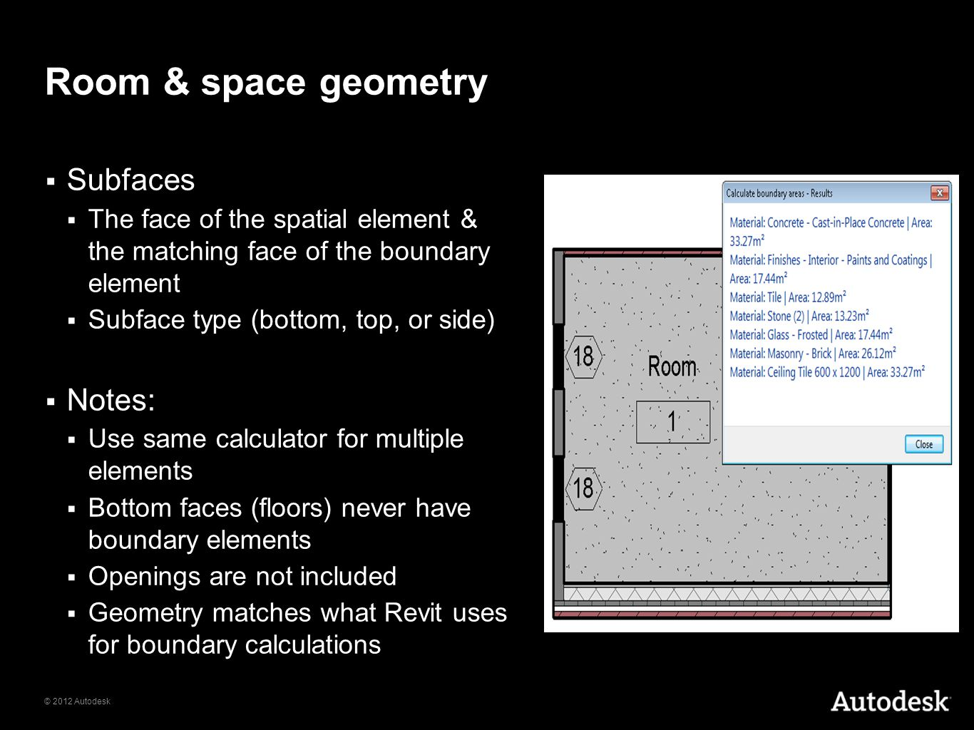 © 2012 Autodesk Room & space geometry Subfaces The face of the spatial element & the matching face of the boundary element Subface type (bottom, top,