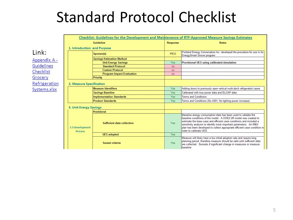 Standard Protocol Checklist 5 Link: Appendix A - Guidelines Checklist Grocery Refrigeration Systems.xlsx Appendix A - Guidelines Checklist Grocery Refrigeration Systems.xlsx