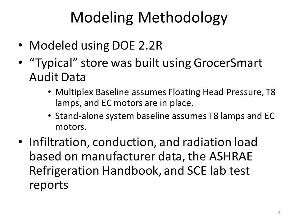 Modeling Methodology 6 Modeled using DOE 2.2R Typical store was built using GrocerSmart Audit Data Multiplex Baseline assumes Floating Head Pressure, T8 lamps, and EC motors are in place.