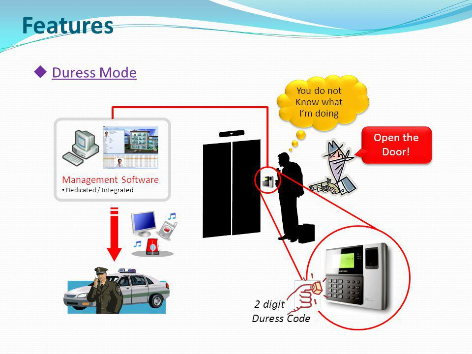 Open the Door! You do not Know what Im doing Duress Mode Management Software Dedicated / Integrated 2 digit Duress Code Features